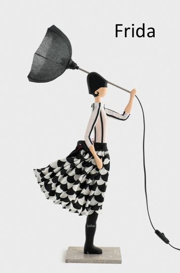 Frida Skitso Puppen Leuchte mit Kleid und Schirm als Lampenschirm Tischlampe Puppenleuchte Design Licht