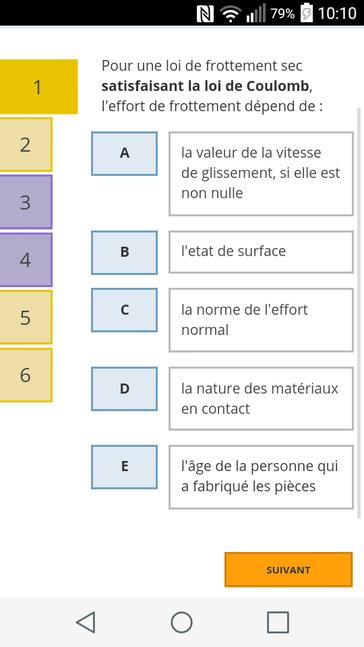 Interface élève : l'élève avance à son rythme ou à un rythme imposé