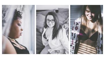 Photos de 3 trois femmes témoignage expérience séance photo boudoir glamour sexy par Marie Deschene photographe Montréal Laval Terrebonne
