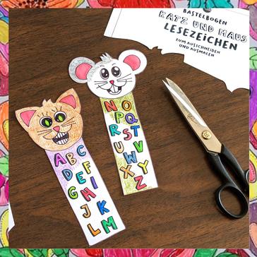 Bastelvorlage für Kinder Lesezeichen ausmalen ausschneiden bastelbogen