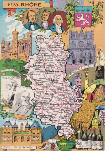 Recto d'une carte postale timbrée au dos envoyée depuis le Rhône