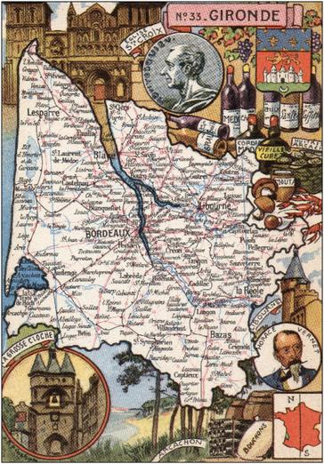 Recto d'une carte postale timbrée envoyée depuis la Gironde
