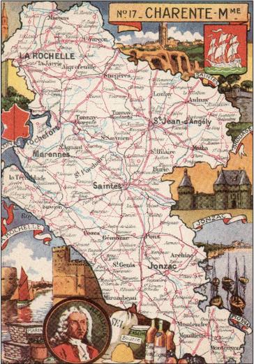 Recto d'une carte postale timbrée envoyée depuis la Charente-Maritime