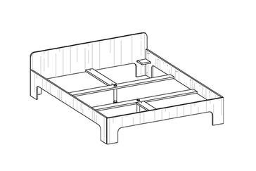 room³ Doppelbett mit hohem Kopfteil (20 cm über Bettgestell)