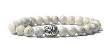 Bracelet en howlite et tête de bouddha