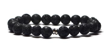 bracelet homme noir pierre de lave