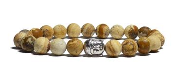 bracelet homme en jaspe et tête de bouddha