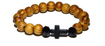 Bracelet en bois avec croix