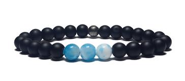 Bracelet homme noir et jade bleu