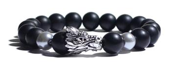 Bracelet noir et Tête de dragon
