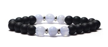 bracelet homme agate bleu cristal