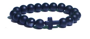 Bracelet noir et croix