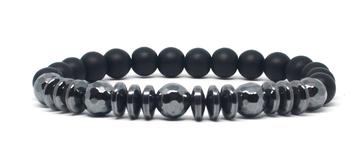 bracelet homme noir  et hématite