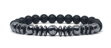 Bracelet noir et Hématites