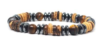 Bracelet en Perles de coco et Oeil de tigre