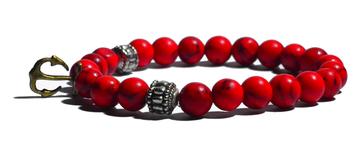 Bracelet  rouge et pendentif ancre