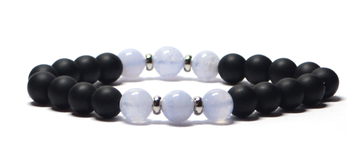 bracelet homme en Agate bleu cristal