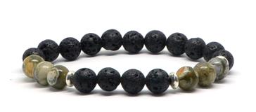 Bracelet en pierres de lave et jaspes