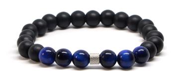 Bracelet homme noir mat et perle oeil de tigre bleu