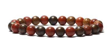 Bracelet perles en bois et jaspes rouge
