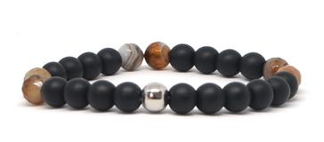Bracelet noir et beige avec ca perle en argent