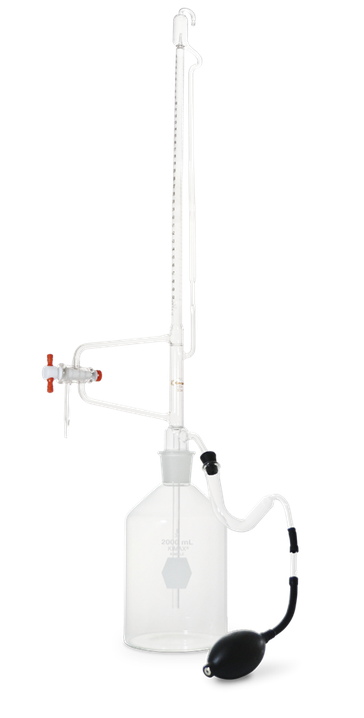 Bureta de cero automática clase A serializada y certificada con llave de PTFE y botella de depósito receptora 17124F