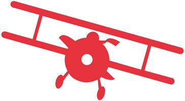 Illustration eines roten Flugzeuges (Doppeldecker) als Symbol für «Laufbahnberatung».