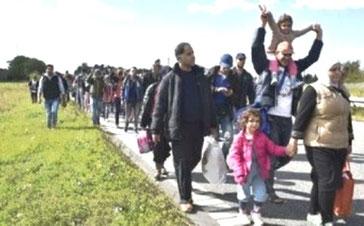 Omkring 200 flygtninge var stukket af ad motorvejen
