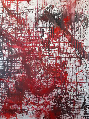 """WE in RED LX"", 2020, oil  pigments on canvas, 200 cm × 200 cm, 2 meters × 2 meters, copyright Christina Mitterhuber"