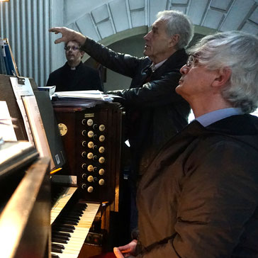 In the photograph church organist Martin Bates, organ restorer Rodney Briscoe and the Rev Mark Hopkins - site visit May 2019