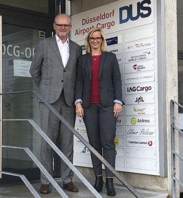 DUS Cargo Chief Gerton Hulsman and Stephanie Jelinek, head of finance and administration