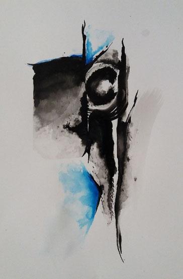 1. Nectar d'âme,      Encre de chine   27 x 40 cm      2018