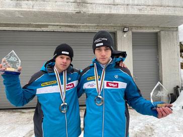 Am Bild das erfolgreiche Doppelsitzerduo Maximilian Pichler und Dominik Maier mit Ihrer EM-Silbermedaille (Foto: Photolove Miriam Jennewein)