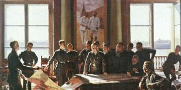 Il capitano Judin in visita ai carristi del Komsomol di Aleksandr Laktionov, 1938, è l'esempio di precisionismo accademico verso cui virò il regime