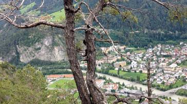 Blick auf Zams Kiefer Lärche Bäume Alpen Österreich Memminger Hütte