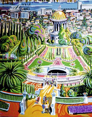 TEMPLO BAHAI (HAIFA). Huile sur toile. 100 x 81 x 3,5 cm.