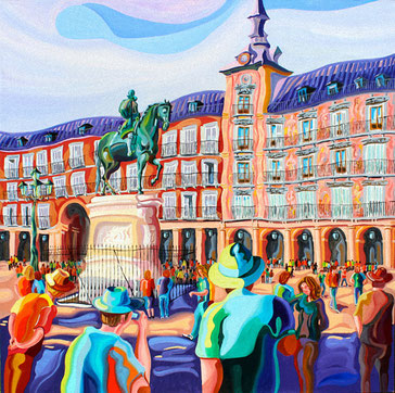 FELIPE III (MADRID).Huile sur toile. 100 x100 x 3,5 cm.