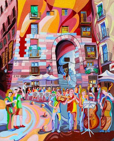 CUCHILLEROS (MADRID).Oleo sobre lienzo. 100 x81 x 3,5 cm.