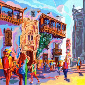 CASA COLON (LAS PALMAS).Huile sur toile. 60 x60 x 3,5 cm.