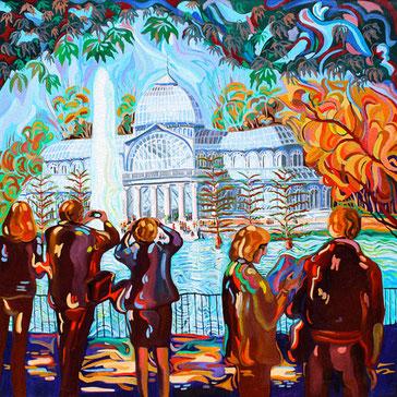 PALACIO DE CRISTAL (MADRID).Huile sur toile. 80 x80 x 3,5 cm.