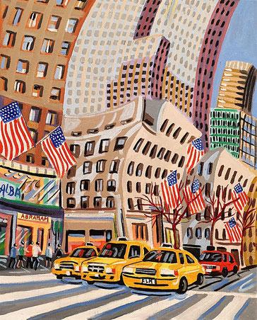 HERALD SQUARE (NEW YORK).Huile sur toile. 41 x33 x 3,5 cm.