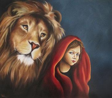 Löwe - Mädchen - Unter Gottes Schutz - Öl-Gemälde