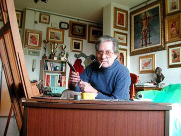 Il maestro Angelo Batti nel suo atelier Montecorvino Pugliano (SA)