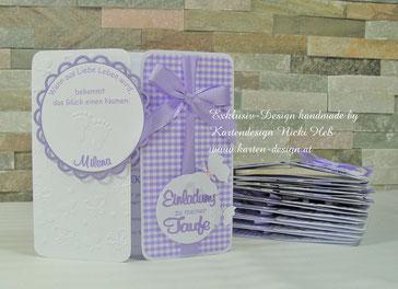 Taufeinladungen, Taufkarten, Taufe, Kartendesign, Heß,  Straßwalchen, handmade, Unikate, Einladungen