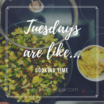 It's cooking time: lentils with zucchini, broccoli and fennel mixed with spices and homemade hummus