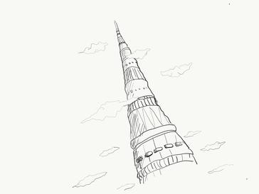 カリン塔ってこんな感じだったかな?雲の雰囲気が鳥山明風。笑