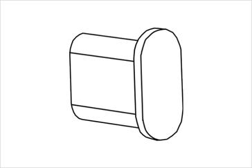 Заглушка для овальной трубы 30х15 мм; хром или черный