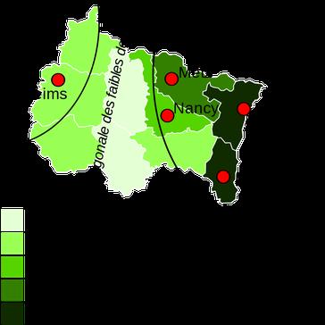 Densidad de población en el Gran Este