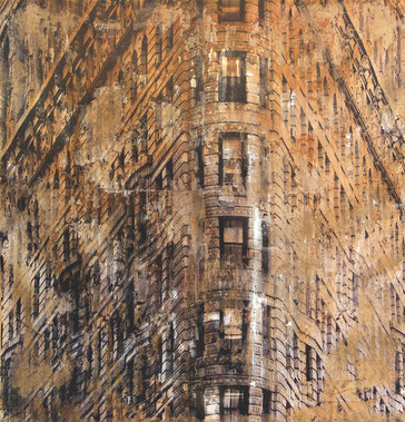 "SOLD - ""FLatiron building"" - Mixed media, collage and acrylic paint on paper on canvas - 61x61cm"