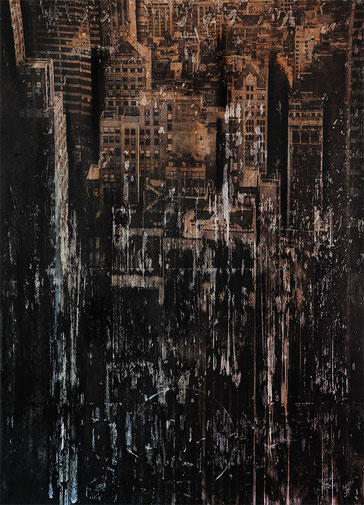 AVAILABLE - Mixed media, collage and acrylic paint on paper on canvas 78x108cm